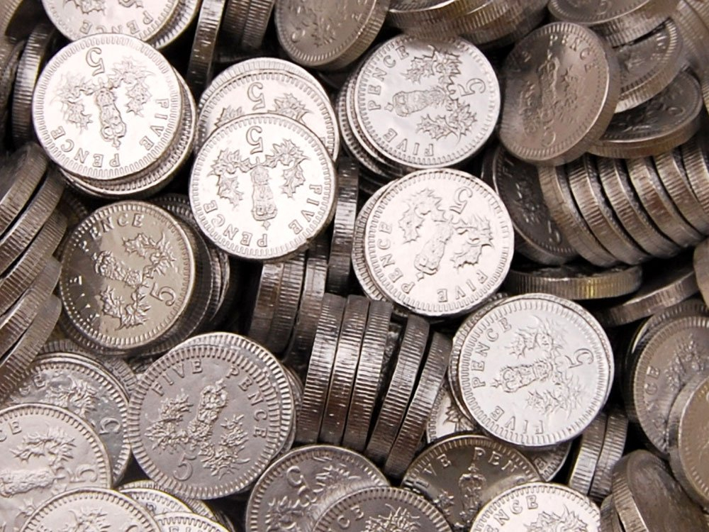 Chocolate Coins Silver 5p Sterling