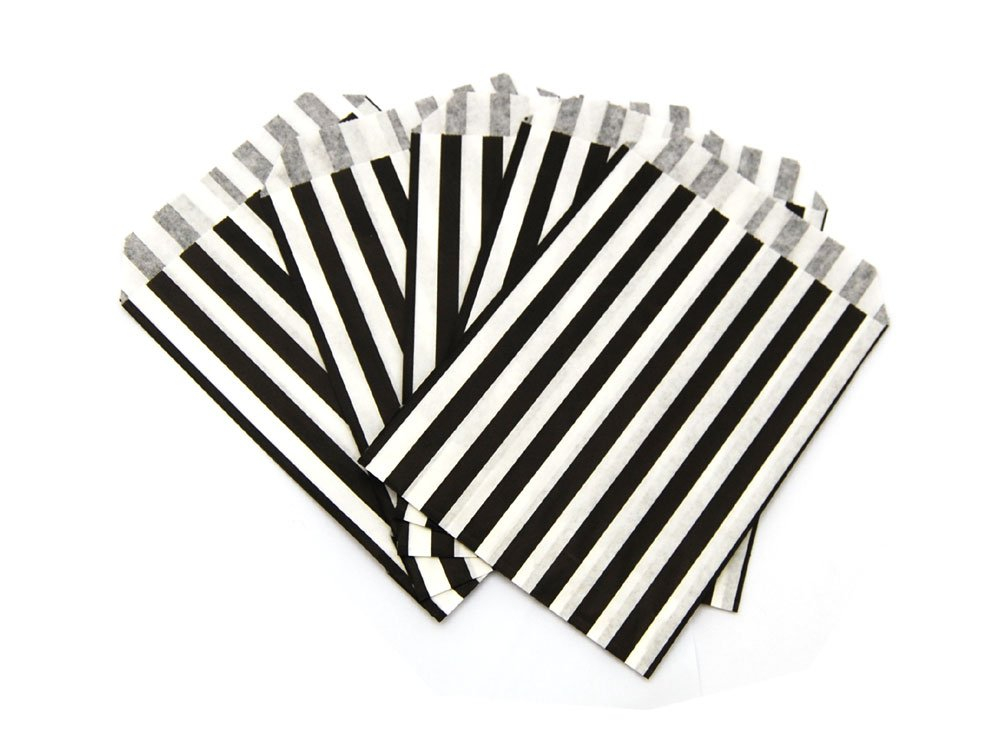 Black Candy Striped Paper Bags
