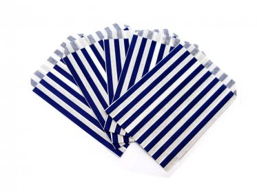 Blue Candy Striped Paper Bag