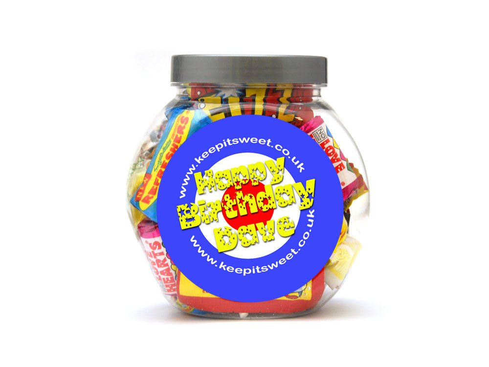 Retro Personalised Sweet Jar Small