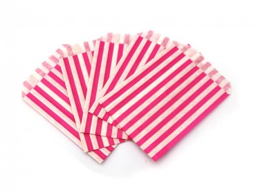 Pink Candy Striped Paper Bags