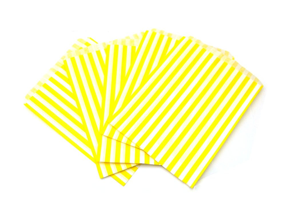 Yellow Candy Striped Paper Bags