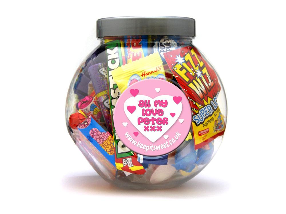 love personalised sweet jar large. Black Bedroom Furniture Sets. Home Design Ideas